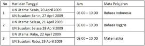 Jadwal UAN 2008-2009 SMALB