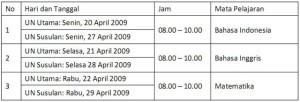 Jadwal UAN 2008-2009 SMK