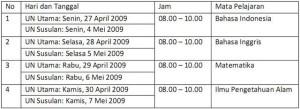 Jadwal UAN 2008-2009 SMP, MTs, SPLB