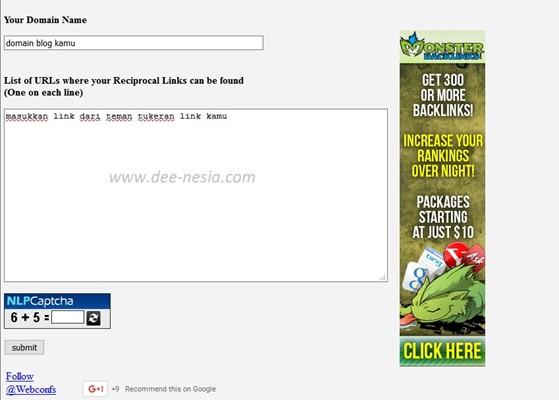 cek backlink dari tukeran link