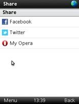 Opera Mini 6 Sharing Link Option