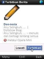 Opera Mini 6 Sharing Link Terbitkan