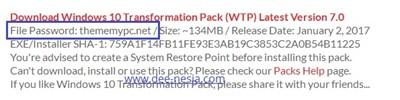 Password Windows 10 Transformation Pack Versi 7.0