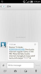 SMS sisa kuota 3 AON