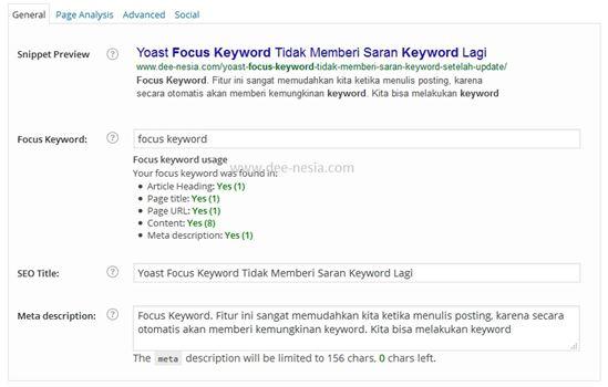 Focus Keyword Tidak Berfungsi