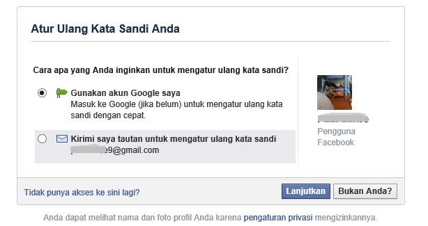 reset password Facebook