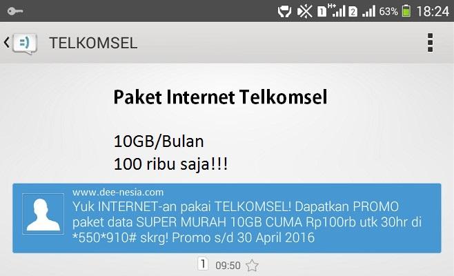 Promo Paket Internet Telkomsel 10GB per Bulan