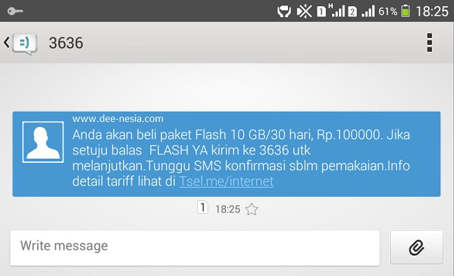 SMS Balasan Promo Paket Internet Telkomsel 10GB per Bulan