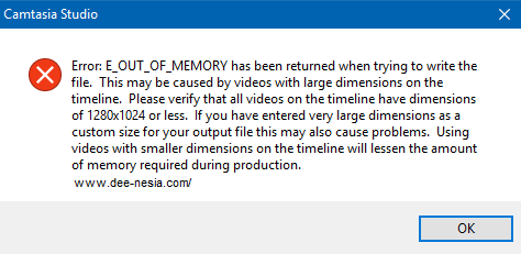 Camtasia Out of Memory Problem