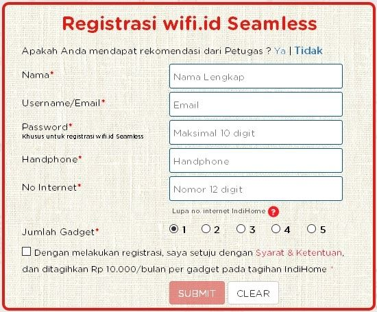 Daftar wifi id seamless Indi Home