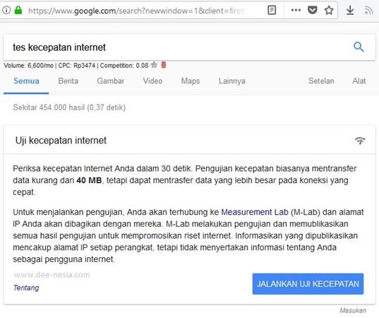 Uji Kecepatan Internet di Hasil Pencarian Google