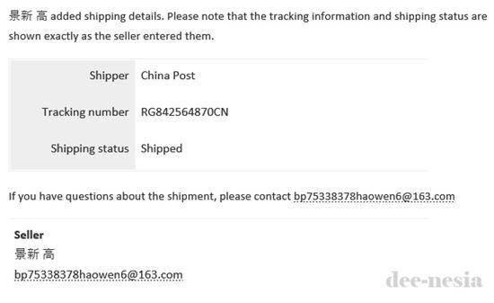 Email pemberitahuan barang sudah di kirim, lengkap dengan Tracking Number-nya