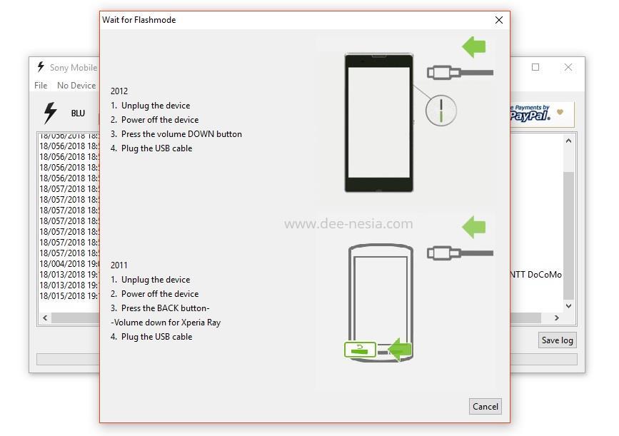 Waktunya mencolokan kabel data ke port USB di laptop dan ke unit Xperia X Compat dengan menekan tombol volume bawah