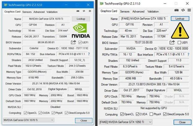 GPU-Z mendeteksi kartu NVIDIA asli atau palsu