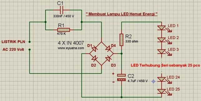 Skema Rangkaian Lampu LED Hemat Energi
