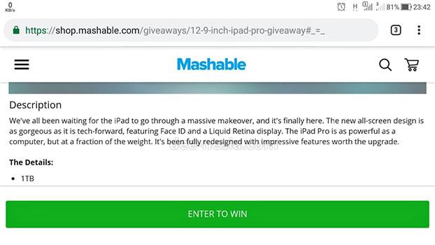 Daftar Mashable Giveaway iPad Pro 2018 Dengan Facebook