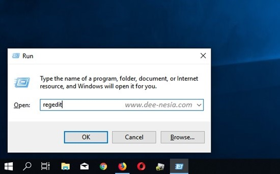 Cara Mematikan Storage Sense Windows 10 - Tombol Windows + R ketik regedit