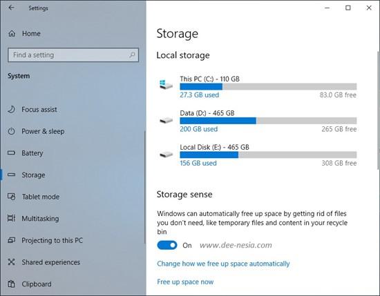Cara Mematikan Storage Sense Windows 10 dari Setting