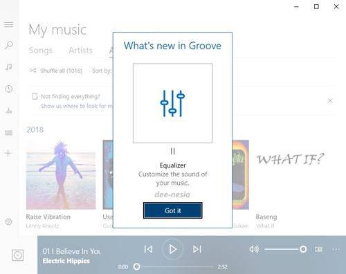 Equalizer di Groove Music