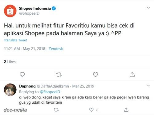 Shopee Favorite tidak ada di versi web